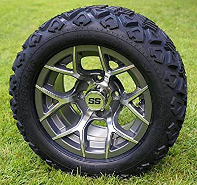 "12"" RALLY Gunmetal Golf Cart Wheels and 20x10-12 DOT All Terrain Golf Cart Tires - Set of 4 - NO LIFT REQUIRED (read description)"