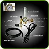 MOD Complete Hydroponics Co2 Regulator Emitter System with Solenoid Valve Accurate and Easy to Adjust Flow Meter - Made of Brass - Shorten up and Double Your Time for Harvest Time (Color: Gold, Tamaño: Standard)