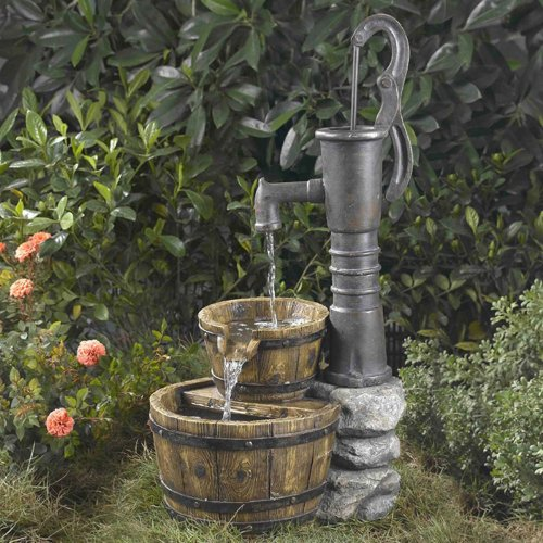Jeco Old Fashion Water Pump Outdoor Fountain, Resin & Fiberglass