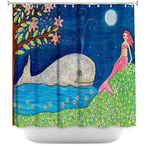 DiaNoche Designs Shower Curtains Stylish, Decorative, Unique, Cool, Fun, Funky Bathroom - Whale Mermaid