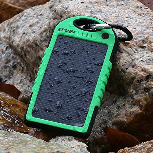 LevinTM Solstar Solar Panel Charger 6000mAh Rain-resistant and Dirt/Shockproof Dual USB Port Portable Charger Backup External Battery Power Pack for iPhone 5S 5C 5 4S 4, iPods(Apple Adapters not Included), Samsung Galaxy S5 S4, S3, S2, Note 3, Note 2, Most Kinds of Android Smart Phones ,Windows phone and More Other Devices (green)(Pls buy the authentic Branded items and turn down the knockoffs)