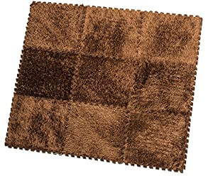 HemingWeigh Fuzzy Area Rug - 9 Fluffy Carpet Tiles for Kids - Ideal for Nursery Décor, Baby Room, Playroom and Kids Room. Plush, Velvet-like Texture, Anti-slip & Durable Rug (Brown)