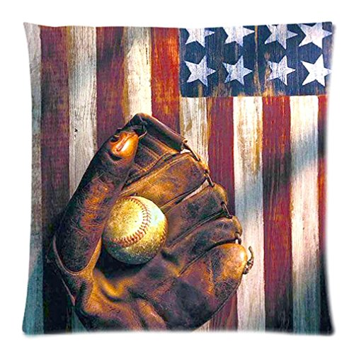 "Funny American Flag Retro Baseball Waterproof Bathroom Retro Vintage Custom Zippered Pillow Case 20""X20""(Two Sides) front-865181"