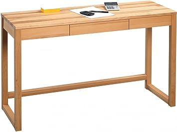 Dreams4Home Schreibtisch 'Hilton' Holz Massiv Kernbuche Burotisch Tisch Sekretär Schminktisch Konsole 120 x 75 cm Sideboard