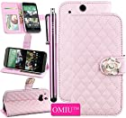 OMIU(TM)Gorgeous Camellia Flower Ornament Luxury PU Leather Magnet Stand Wallet Flip Case Protective Cover with Credit Card Holder and Extra Money Pocket For HTC One M8(Pink),Sent Stylus