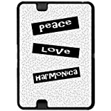 Peace Love Harmonica - Snap On Hard Protective Case for Amazon Kindle Fire HD 7in Tablet (Previous 2012 Release Version)