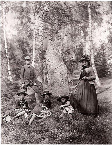 poster-a3-sweden-runestone-antuna-uppland-curman-children-their-french-governess-beside-rune-stone-u