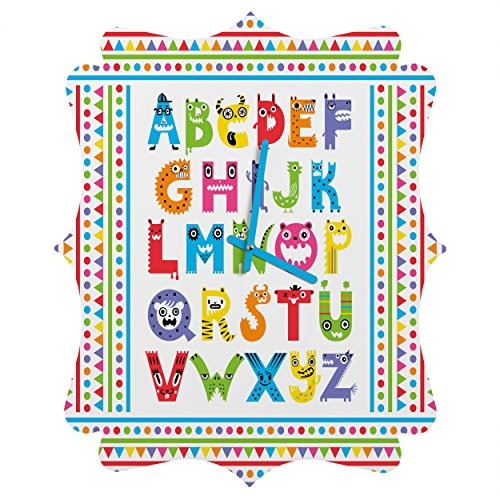 DENY Designs Andi Bird Alphabet Monsters Quatrefoil Clock, Small