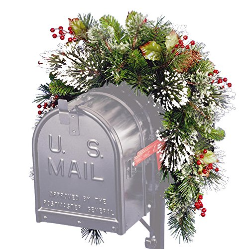 Berries, Cones and Snow Christmas Mailbox Swag