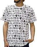 (ディズニー) Disney Tシャツ メンズ ブランド 半袖 ロゴ ミッキー 総柄 MICKEY MOUSE レトロ 4color LL 柄1