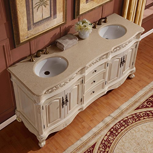 ... Countertop Marble Stone Double Sink Bathroom Vanity with Cabinet, 72