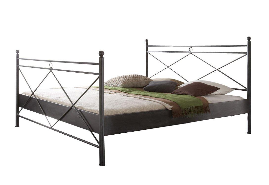 Metallbett Imola Bett in schwarz 180 x 200 cm mit Verzierungen an Kopfteil und Fußteil