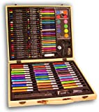 Darice ArtyFacts Portable Art Studio, 131-Piece Deluxe Art Set With Wood Case