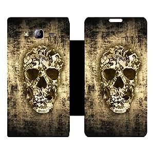 Skintice Designer Flip Cover with Vinyl wrap-around for Samsung Galaxy On7, Design - Jeweled Skull