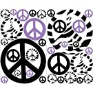 Mini Purple Zebra Print Peace Sign Wall Stickers / Decals