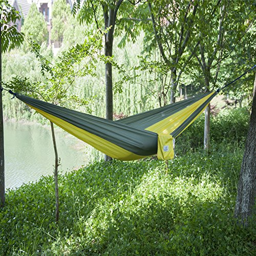OuterEQ Portable Nylon Fabric Travel Camping Hammock Grey/yellow