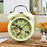 Black Vintage Style Butterfly Flower Quartz Analog Twin Bell Alarm Clock with Night-light Kid Child Home Decor