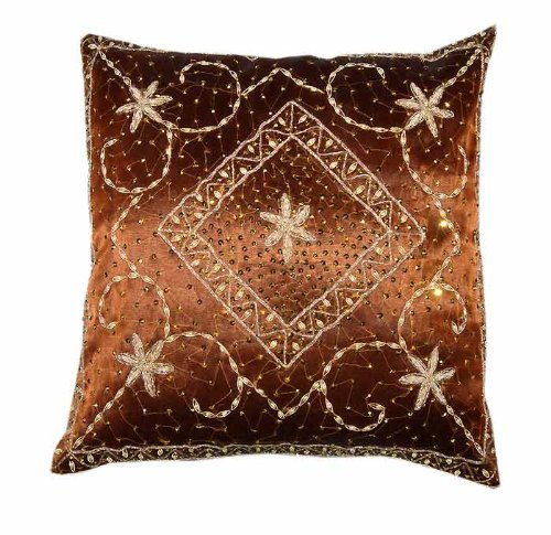For Free Shipping Size 16x16 Inches Pcs 5 Marvellous Home Decoequir Art Rajrang Zardogi Work Brown Color Silk Cushion Cover Throw Pillow Cover Comforter Sets