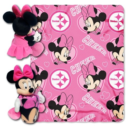 NFL Pittsburgh Steelers Minnie Cheerleader 40x50-Inch Throw with 14-Inch Hugger by Disney