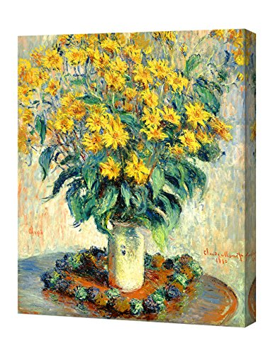 DecorArts - Jerusalem Artichoke Flowers, Claude Monet Art Reproduction. Giclee Canvas Prints Wall Art for Home Decor 20x16