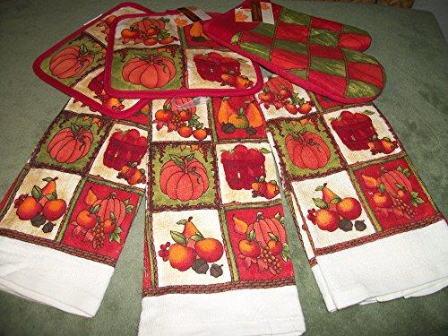 6 Piece Pumpkin Dish Towels w/ Oven Mitt & Pot Holder (Lumina Oven compare prices)