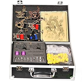 6 Gun Complete Tattoo Machine Kit Power Needle Ink Tip