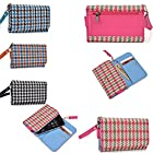 2 in 1 cellphone holder plus wallet- Universal fit- in Pink/Green woven styled design - Compatible fit for the following models: NET10 LG Optimus Q