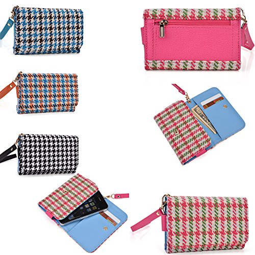 Wristlet Phone Wallet/Holder With Coin Pocket In Pink/Green With A Wool Fabric Finish- Universal Design For The Following Models: Htc Omega
