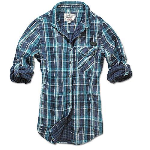 Brandit Kathy camicia a quadri Camicia Maglietta da donna doubleface Navy/turchese taglia S