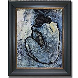 Blue Nude by Picasso Premium Black & Gold Framed Canvas (Ready-to-Hang)