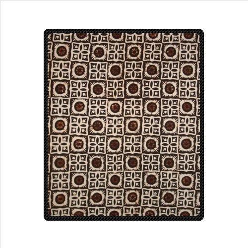 Brown Batik Floral Fabric Design Custom Fleece Blanket 50 X 60 (Medium)
