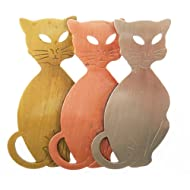 Tri Color Three Cats Pin Brooch