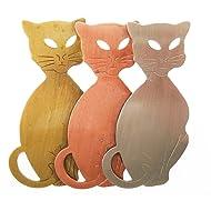 Tri Color Three Cats Pin Brooch