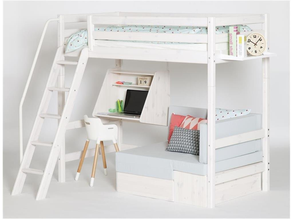 Hochbett Weiß mit schräger Leiter, Schreibtisch, 90x200cm, Flexa Classic