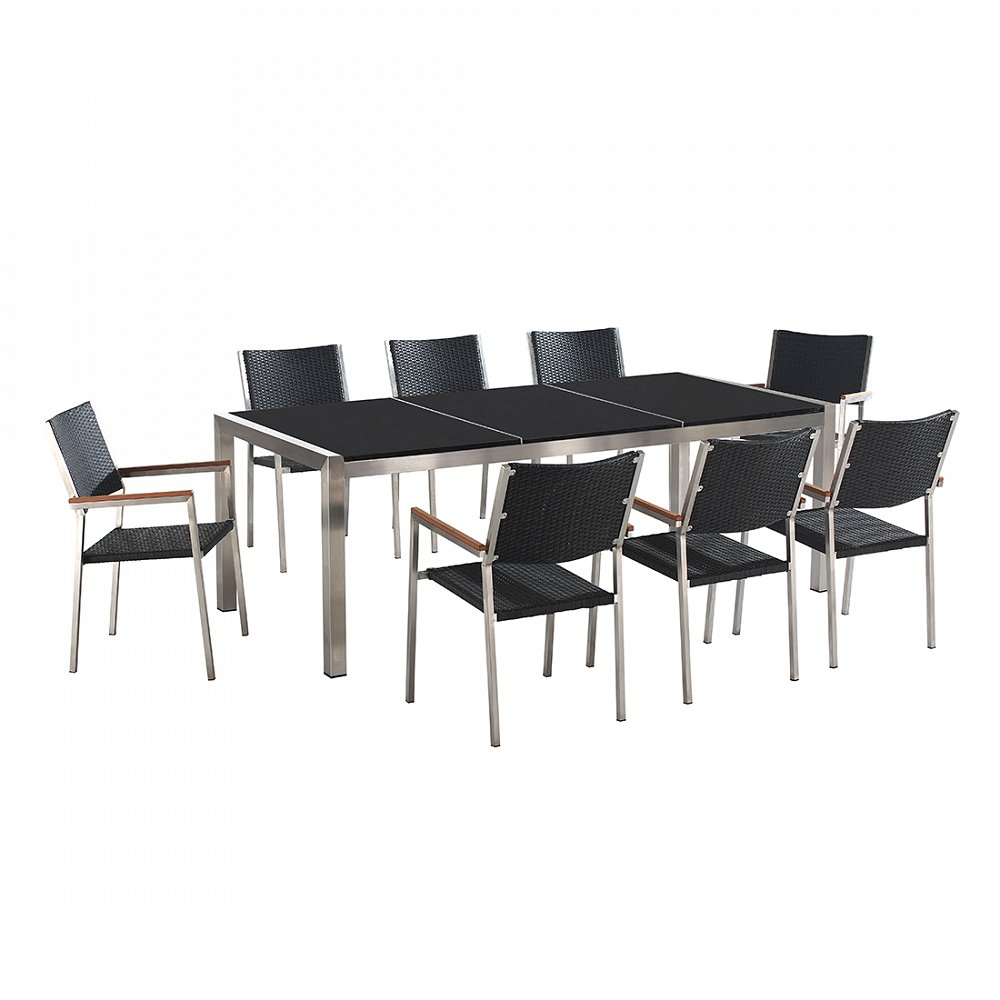 Gartenmöbel schwarz poliert - Granit Edelstahltisch 220cm dreifach mit 8 x Rattan Stühle - GROSSETO