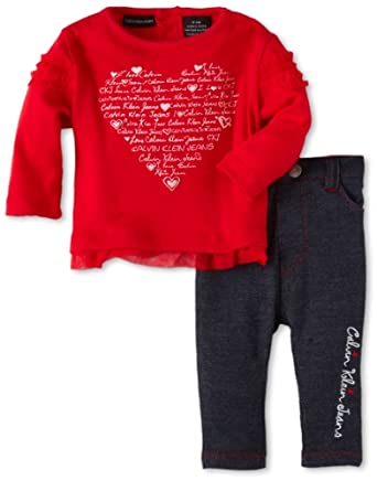 Calvin Klein Baby-girls Newborn Top with Pant, Red, 0-3 Months