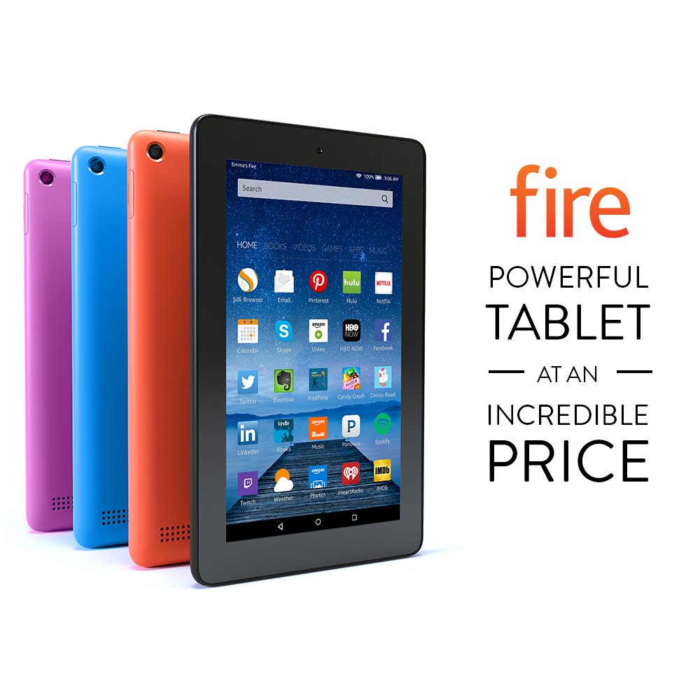 "Fire Tablet, 7"" Display, Wi-Fi, 16 GB - Includes Special Offers, Tangerine"