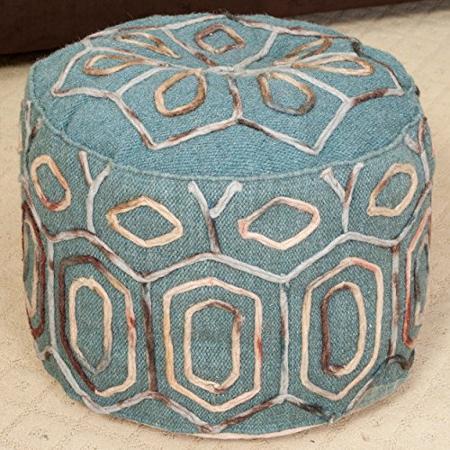 Best Selling Kodiak Teal Wool Embroidered Pouf Ottoman, Green