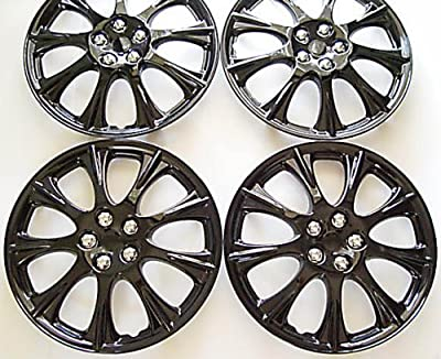 "15"" Set Of 4 Ice Black Hubcaps Wheel Covers Design Are Universal Hub Caps Fit Most 15 Inch Wheels"