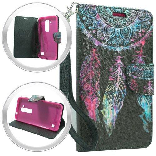 TAG - LG Stylo 2 LS775 Stylus - Slim Image Wallet PU Leather Case Premium Pouch ID Credit Card Cover Flip Folio Book Style w Money Slot Wrist Strap Phone Case Dream Catcher
