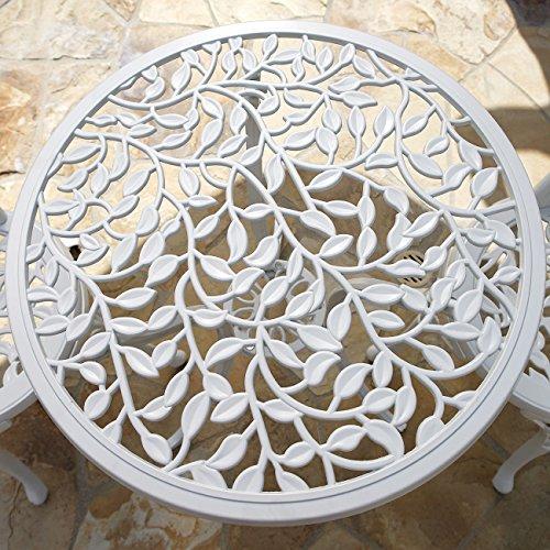 Belleze Outdoor Patio Furniture Leaf Design Bistro Set in Antique White 2