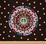 Michael Miller Peace, Love & Happiness Cocoa, 23x22-inch (58x56cm) Cotton Fabric Panel