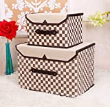 HAKACC Fabric Foldable Storage Bin,Simple and Stylish,Grid Design,Brown(Set of 2)