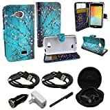 Mstechcorp - For LG Tribute (LS660) / Transpyre / Optimus F60 Flip Wallet Pouch Case (Carry All Series) - Includes + [Car Charger Data Cable] + [Touch Screen Stylus] + [Wall Plug] + [2 Data Cables] + [Hands Free Earphone] (WALLET BLOOMING TEAL)