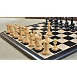 Combo of Old Romeo Staunton Series Chess Pieces & Wooden Chess Board in Ebony & Box Wood - 3.8