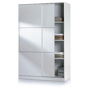 Habitdesign MAX020BO - Armario dos puertas correderas, acabado en Blanco Brillo, dimensiones: 200 x 120 x 50cm