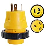 GIE.TOP RV Power Cord 30 AMP Male to 30 AMP Female 3-Prong 125V AC Camper Generator Adapter Electrical Converter Plug Socket(30AMP Male to 30AMP Female) (Color: Yellow, Tamaño: 30AMP Male to 30AMP Female)