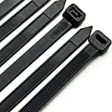 Cable Zip Ties Heavy Duty 12 Inch, Ultra Strong Plastic Wire Ties with 120 Pounds Tensile Strength, 100 Pieces, Nylon Tie Wraps with 0.3 Inch Width in Black & White, Indoor and Outdoor UV Resistant (Color: Black, Tamaño: 12 Inch)