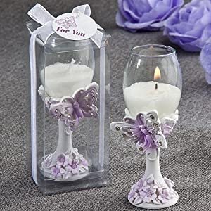 Toasting Champagne Flute Butterfly Design Candle