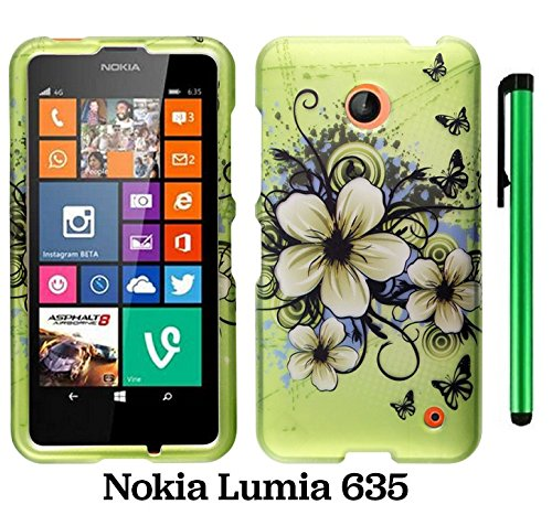 Nokia Lumia 635 (Us Carrier: T-Mobile, Metropcs, And At&T) Premium Pretty Design Protector Cover Case + 1 Of New Assorted Color Metal Stylus Touch Screen Pen (Apple Green Butterfly Flower)